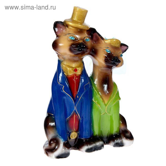 """Копилка """"Коты венчальные"""" большая, глянец, бежево-шоколадная"""