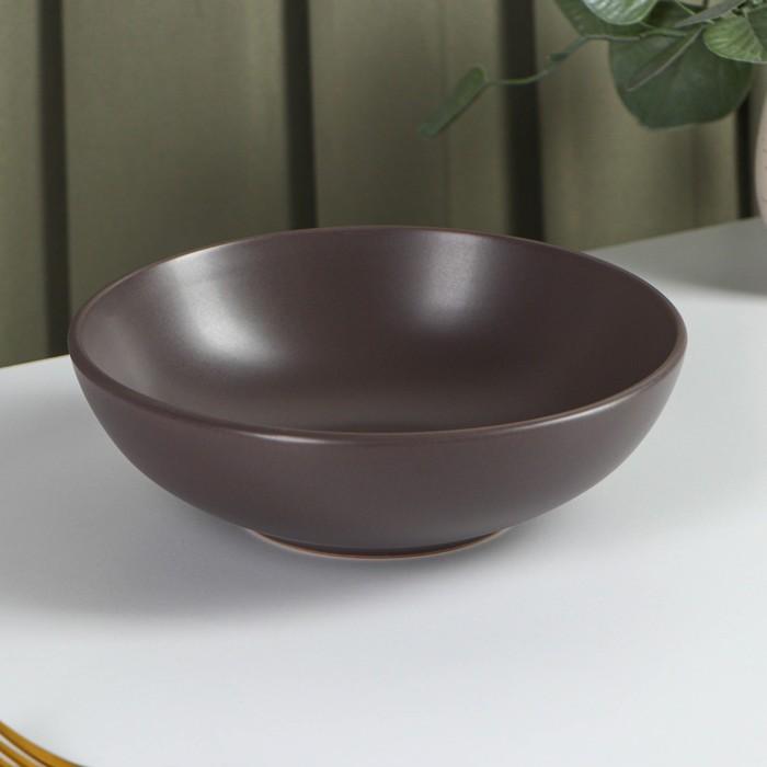 """Тарелка суповая 18 см """"Пастель"""", цвет коричневый"""