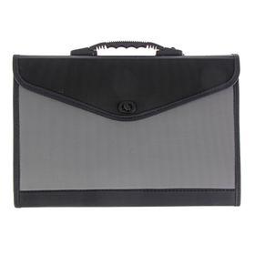 Папка-портфель A4, 13 отделений Lamark, с окантовкой, морозоустойчивый черно/серый Ош