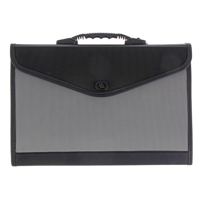 Папка-портфель A4, 13 отделений Lamark, с окантовкой, морозоустойчивый черно/серый