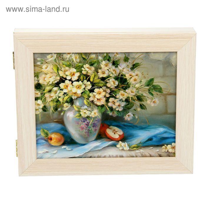 """Ключница """"Полевые цветы"""" молочный дуб"""