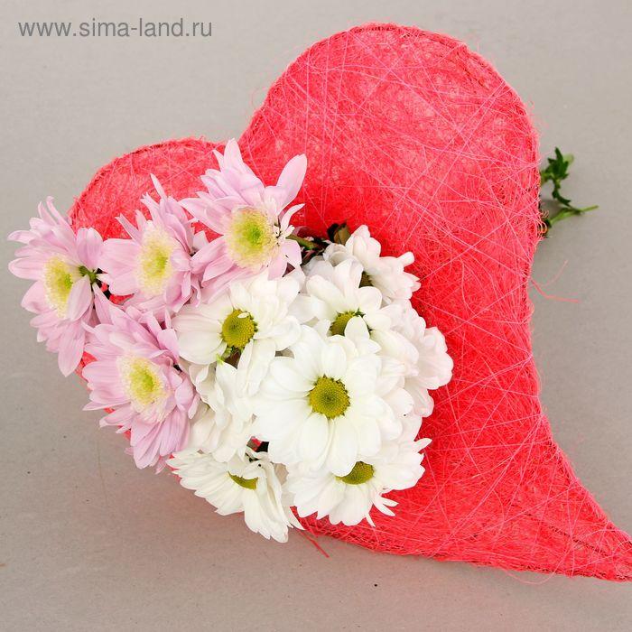 """Каркас для букета """"Сердце"""" 33 см, сизаль, розовый"""