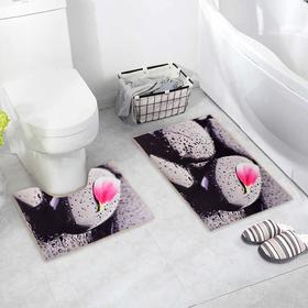 """Набор ковриков для ванны и туалета 2 шт 40х45, 45х75 см """"Камни"""""""
