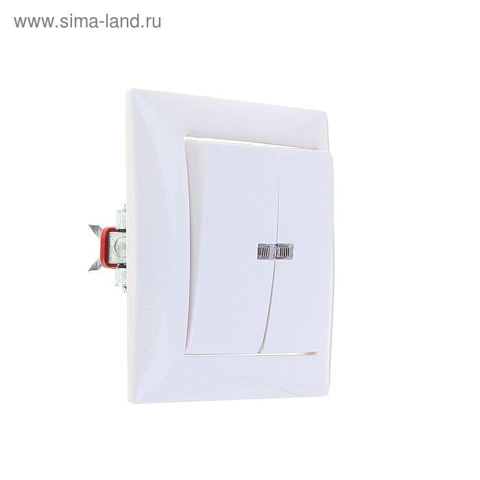 """Выключатель """"Кунцево"""" Селена 8104, 10 А, 2 клавиши, скрытый, с индикатором, белый"""