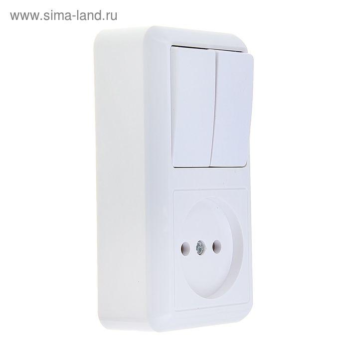 """Блок комбинированный """"Кунцево"""" Оптима 8062, 2 клавиши, с розеткой, белый"""