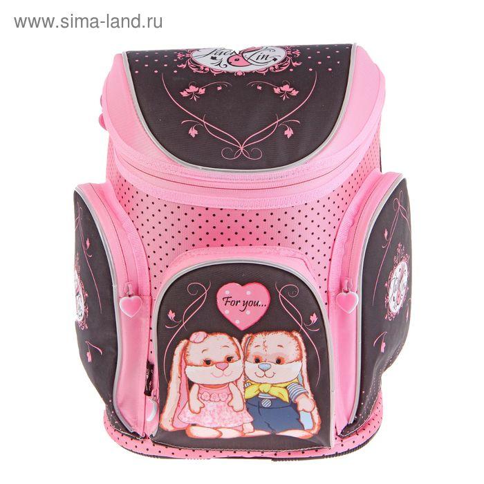 Ранец на молнии Jack&Lin 33*28*16 см, эргономичная спика, для девочки, розовый/черный