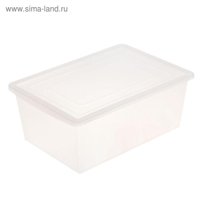 Ящик универсальный для хранения с крышкой, объем 30л. цвет: прозрачно-матовый