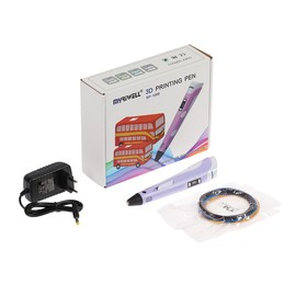 3D ручка Myriwell RP-100B, ABS и PLA, с дисплеем, фиолетовая  (+ пластик, 3 цвета)