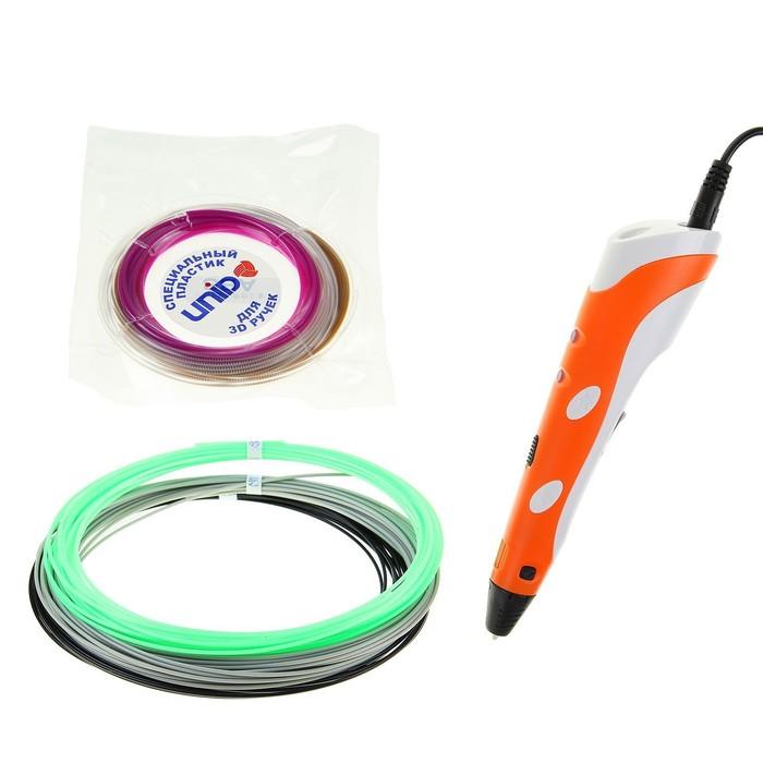 3D ручка SPIDER PEN Start, ABS и UNID Pro, оранжевая (трафарет + 6 цветов пластика)