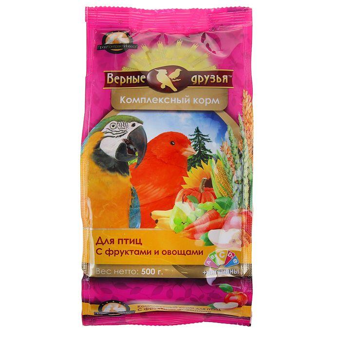 """Корм """"Верные друзья"""" для птиц, с фруктами и овощами, 500 г"""