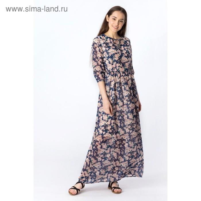 Платье женское, синий принт, размер 46-48 (L), рост 170 см (арт. 1611348580)
