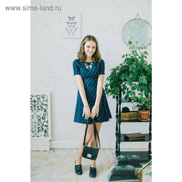 Платье женское, синий принт, размер 44 (S), рост 170 см (арт. 1611331500)