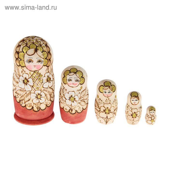 """Матрешка выжигание """"Золотые цветы""""   5 кукол"""