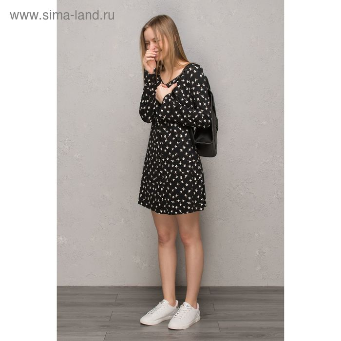 Платье женское, чёрный принт, размер 42 (XS), рост 170 см (арт. 1611239567)