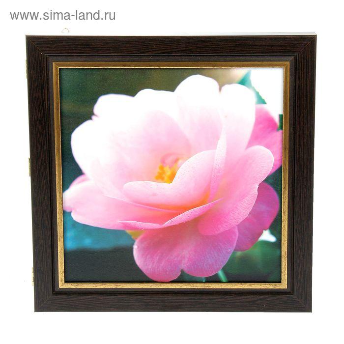 """Ключница """"Розовый цветок"""" венге с золотом"""