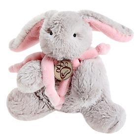 Мягкая игрушка «Кролик», цвет серый/розовый, 15 см