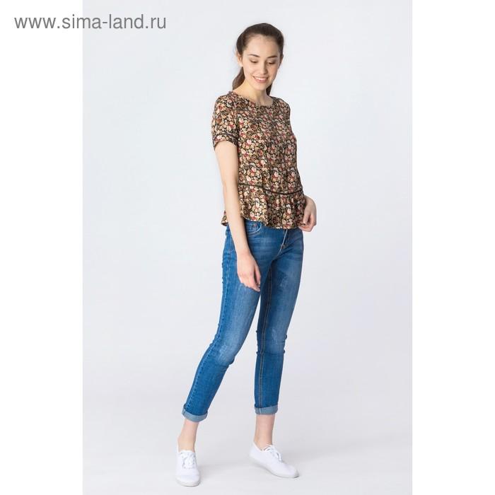 Блузка женская, коричневый принт, размер 44 (S), рост 170 см (арт. 1611091317)