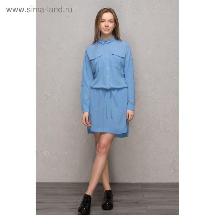 Платье женское, цвет голубой, размер 46-48 (L), рост 170 см (арт. 1611392562)