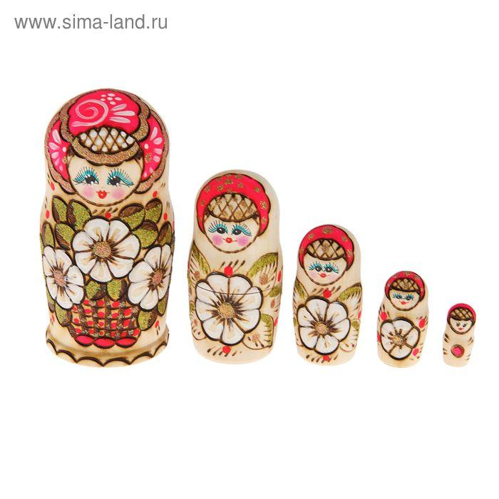 """Матрешка выжигание """"Корзина"""" розовая  5 кукол"""