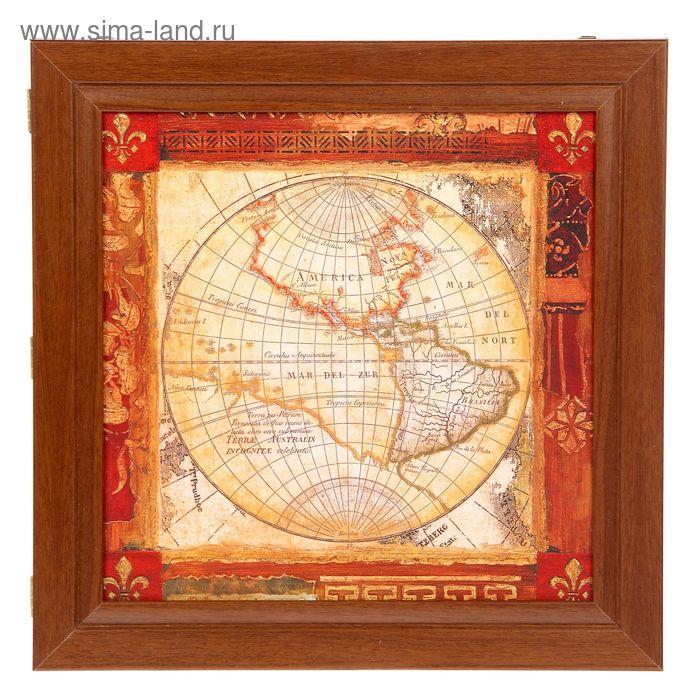 """Ключница """"Старинная карта мира"""" орех"""
