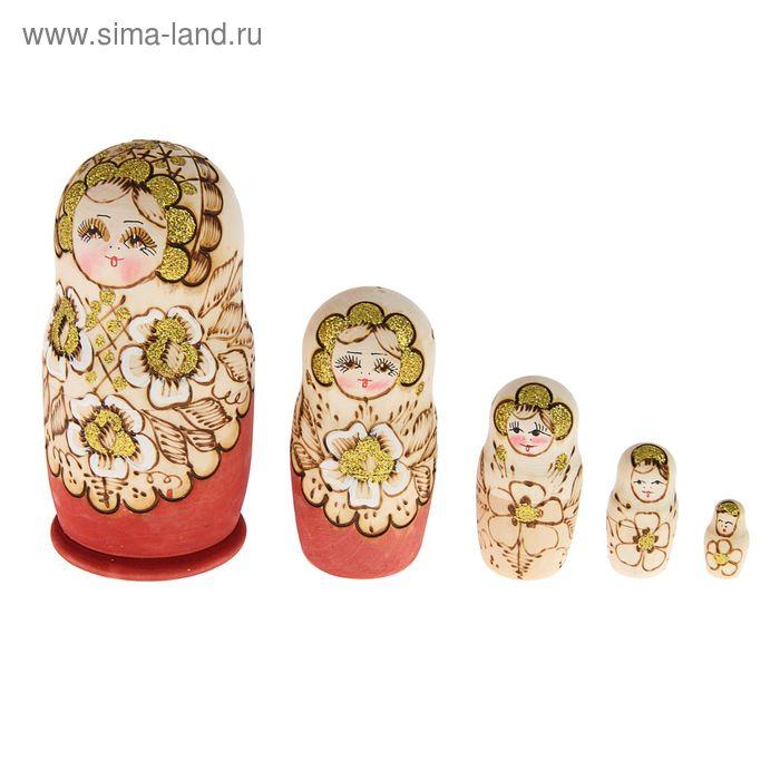 """Матрешка выжигание """"Розы золотые""""   5 кукол"""