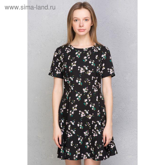Платье женское, чёрный принт, размер 44 (S), рост 170 см (арт. 1611331500)