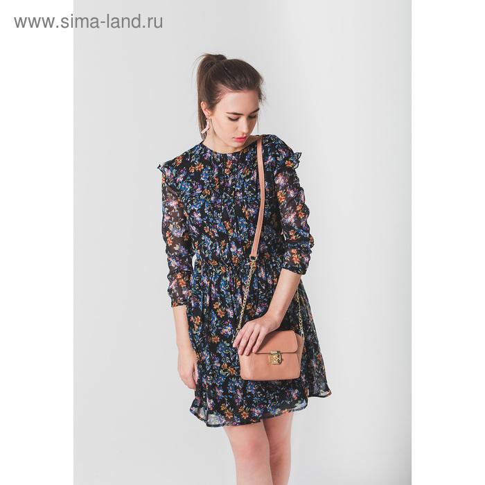 Платье женское, цвет чёрный с рисунком, размер 44 (S), рост 170 см (арт. 1611094539)