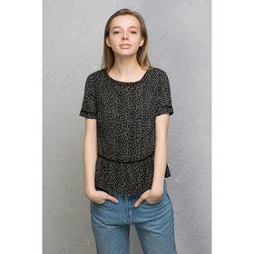 Блузка женская, цвет чёрный с рисунком, размер 42 (XS), рост 170 см (арт. 1611091317) Ош