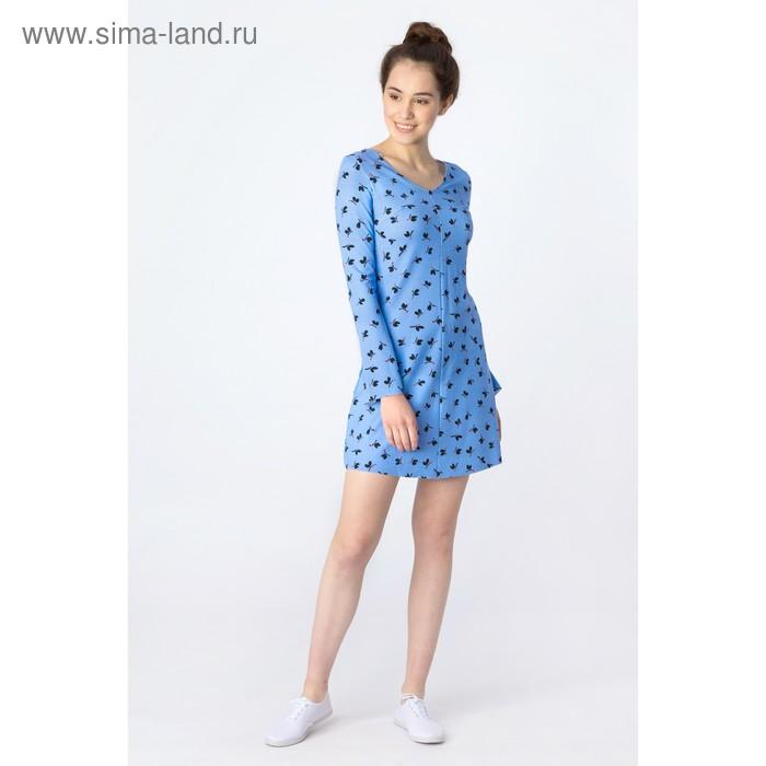 Платье женское, синий принт, размер 48 (XL), рост 170 см (арт. 1611239567)