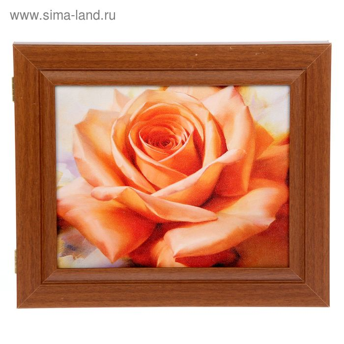 """Ключница """"Оранжевая роза"""" орех"""