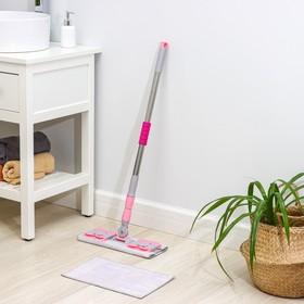"""Швабра плоская """"Люкс"""" со стальной телескопической ручкой 80-130 см, микрофибра, дополнительная насадка"""