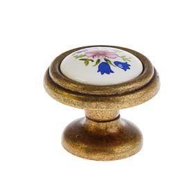 Ручка-кнопка 734 C802, цвет античная бронза/белый