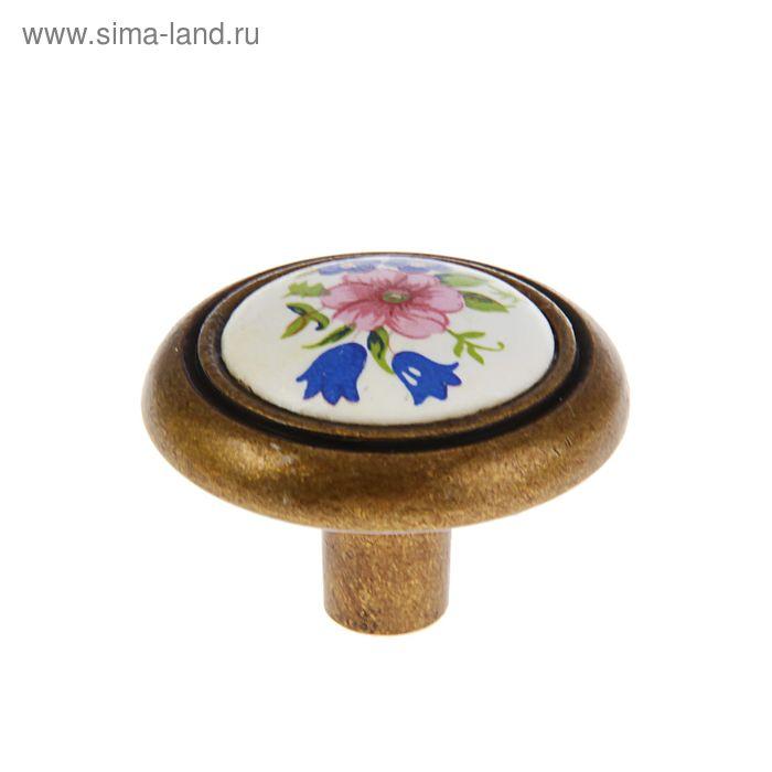 Ручка-кнопка 733 C801, цвет античная бронза/белый