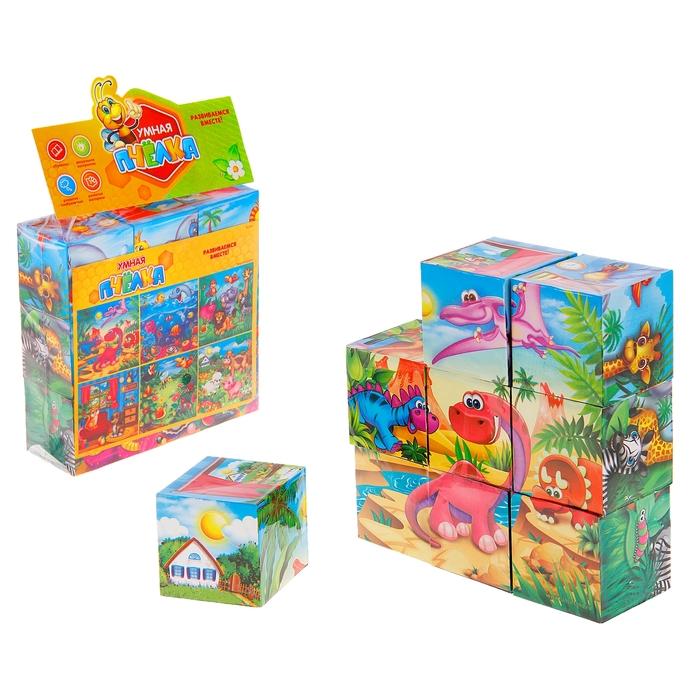 "Кубики ""Животный мир"", 6 персонажей, 9 кубиков, р-р кубика 5,5х5,5 см"