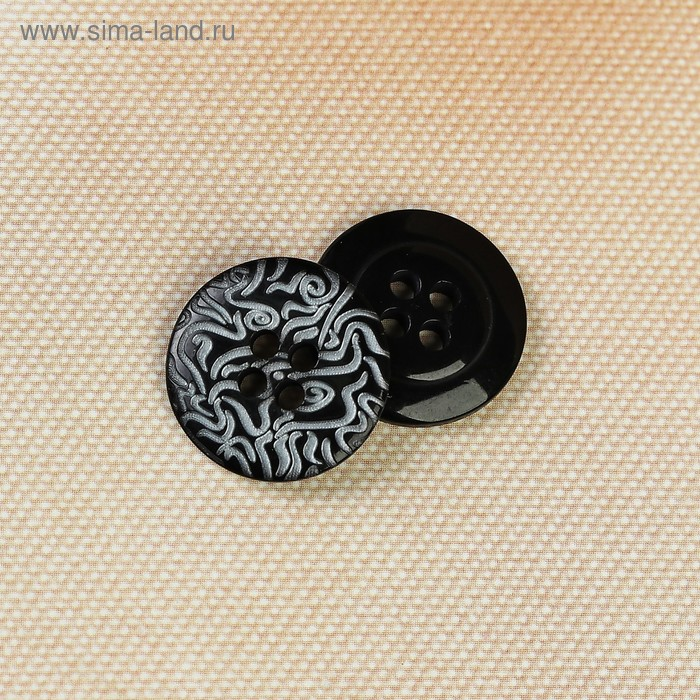 Пуговица, 4 прокола, 18мм цвет чёрный