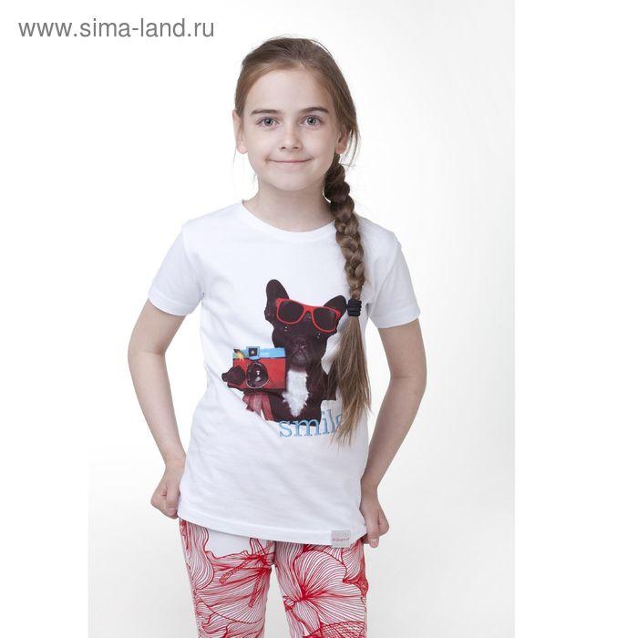 Футболка для девочки, рост 128 см, цвет белый (арт. 16-1-40g-41-200-3)