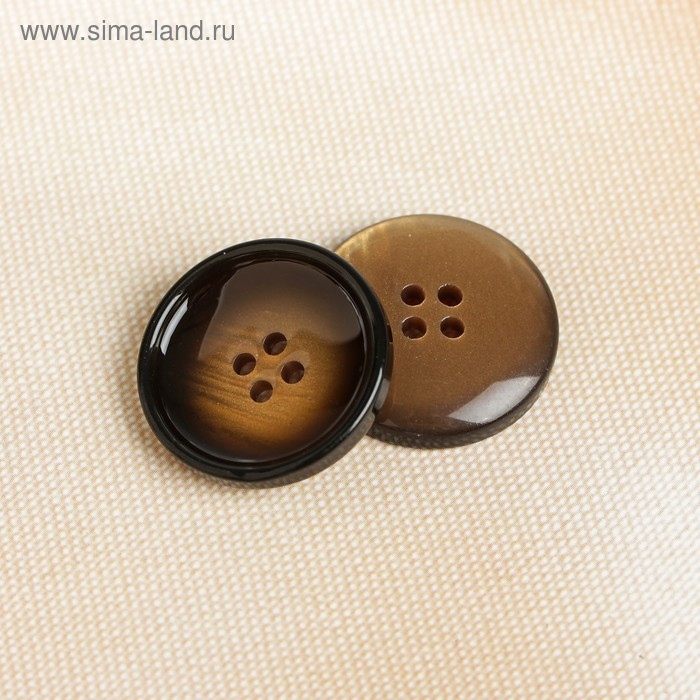 Пуговица, 4 прокола, 25,5мм, цвет коричневый