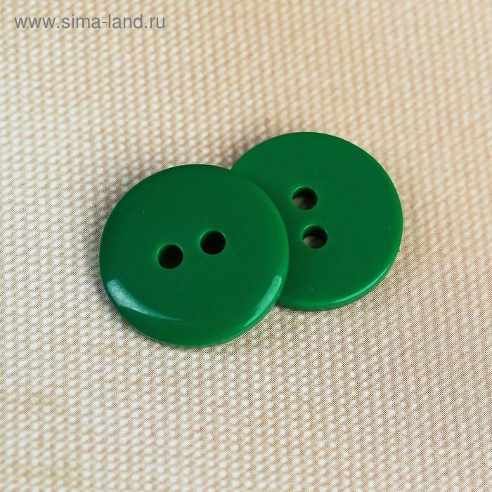 Пуговица, 2 прокола, 18мм, цвет зелёный
