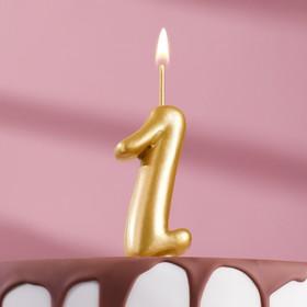 """Свеча для торта цифра """"Золотая"""" цифра """"1"""""""