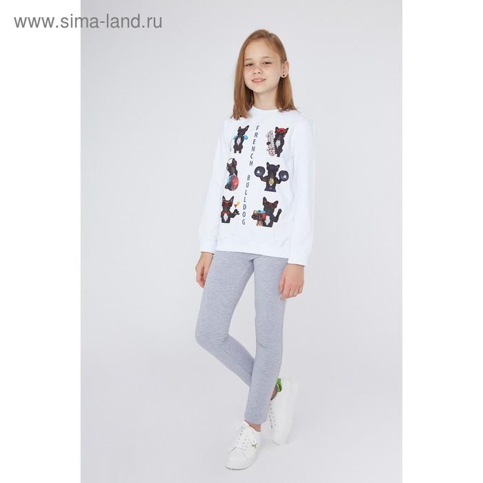Свитшот для девочки, рост 164 см, цвет белый (арт. 16-1-50g-47-200-3)