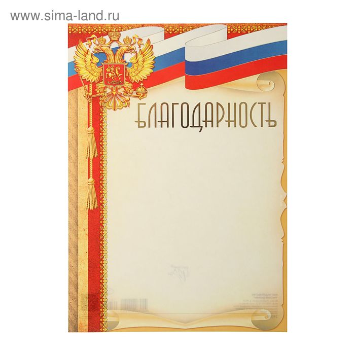 """Благодарность """"Россия"""" лента триколор, красная рамка, фольга"""