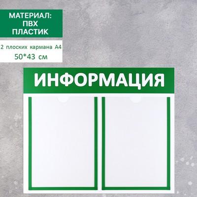 Доска для информации 50*43, пластик, 2 кармана А4, 50*43 цвет МИКС