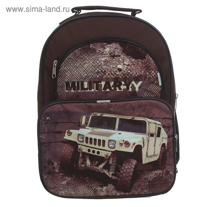 """Рюкзак школьный на молнии """"Милитари"""", 2 отдела, 2 наружных кармана, коричневый"""