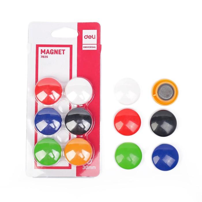 Магниты для досок 30 мм 6 штук DELI в блистере 6 цветов МИКС