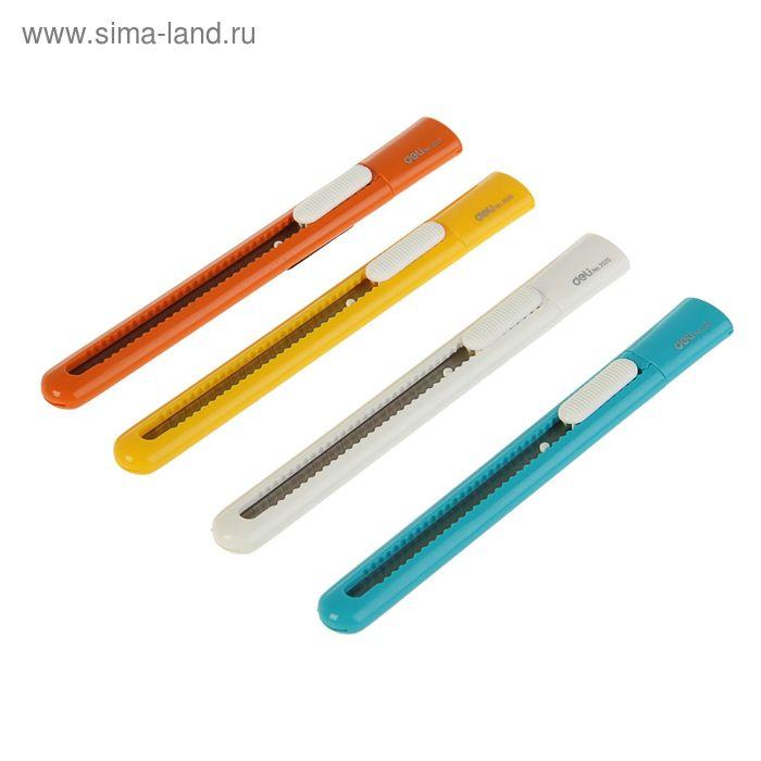 Нож канцелярский лезвие-9мм фиксатор МИКС DELI