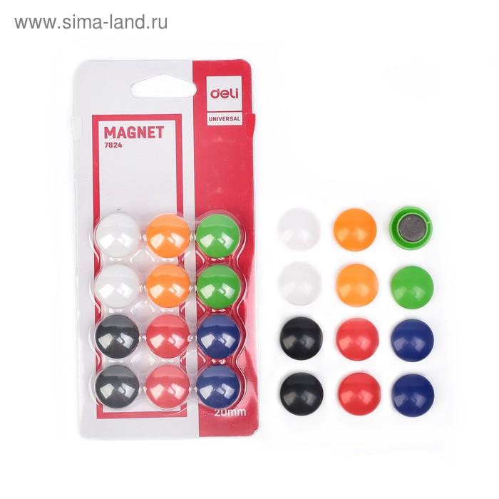 Магниты для досок 20 мм 12 штук Deli в блистере 6 цветов МИКС DELI