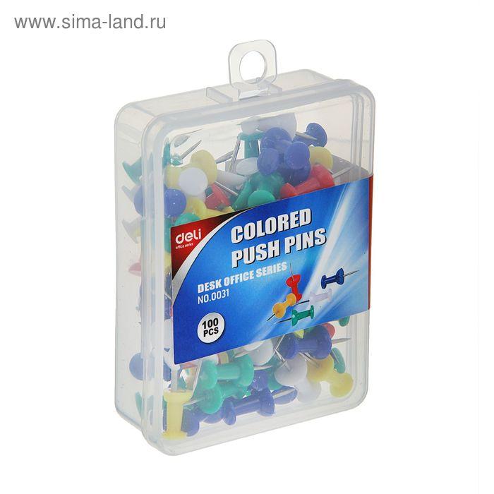 Кнопки силовые цветные 100шт в пластиковой коробке E0031 DELI
