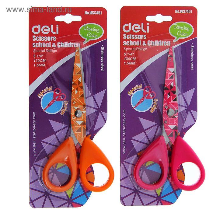 Ножницы 13см пластиковые ручки на лезвие рисунок МИКС на блистере DELI