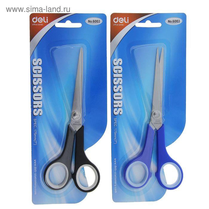 Ножницы канцелярские 17,5см пластиковые ручки МИКС на блистере DELI