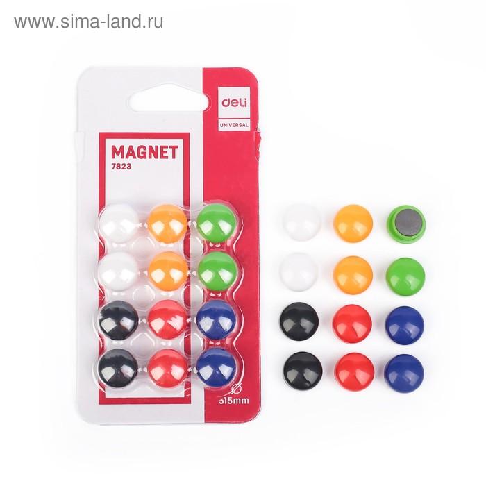 Магниты для досок 15 мм 12 штук Deli в блистере 6 цветов МИКС DELI